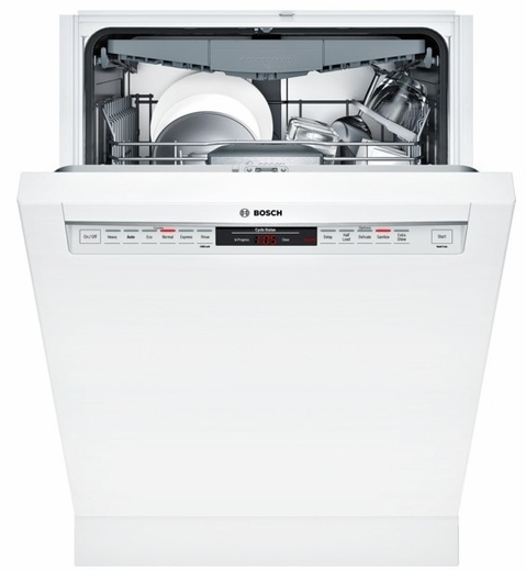 """SHE68T52UC Bosch 800 Series 24"""" Recessed Handle Dishwasher - White"""