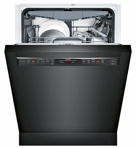 "SHE68T56UC Bosch 800 Series 24"" Recessed Handle Dishwasher - Black"