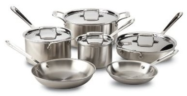 BD005710 All-Clad Brushed Stainless D5 10-Piece Cookware Set