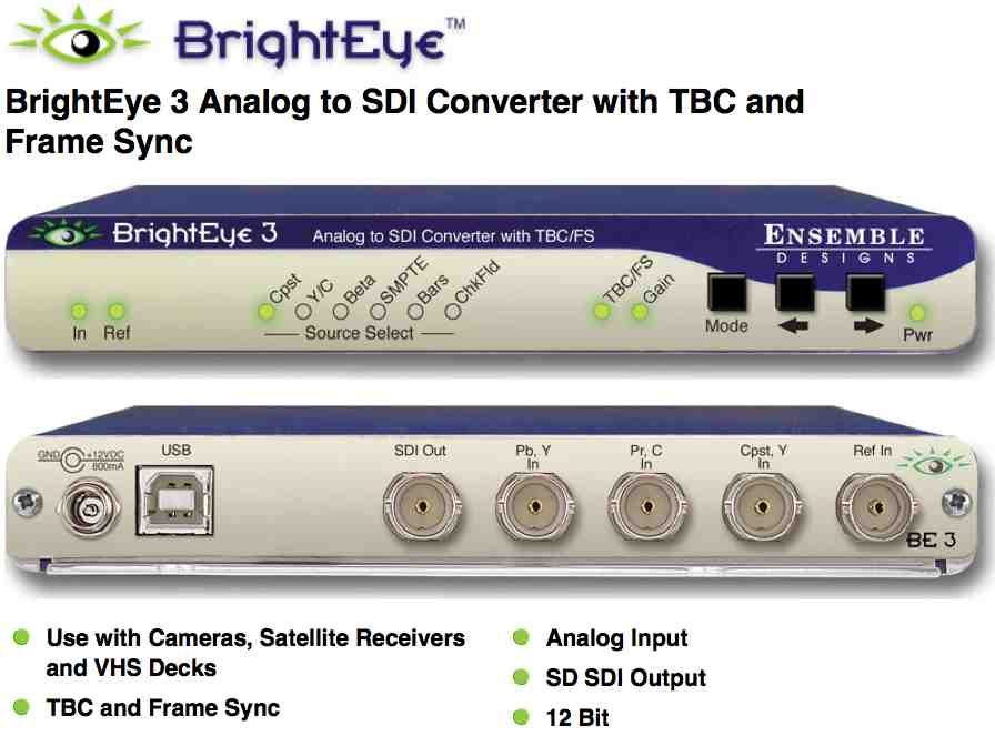 BrightEye 3 Analog to SDI Converter with TBC-Frame Sync