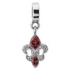 Sterling Silver Reflections Red Swarovski Fleur De Lis Dangle Bead