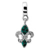 Sterling Silver Reflections Green Swarovski Fleur De Lis Dangle Bead