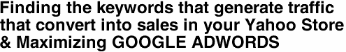 Finding the keywords that generate traffic  that convert into sales in your Yahoo Store & Maximizing GOOGLE ADWORDS