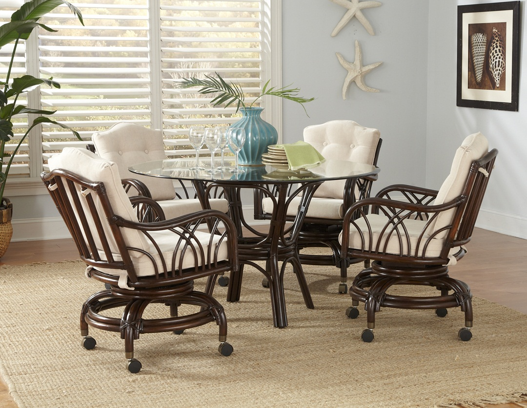 Rattan swivel dining set for Dining room table with swivel chairs