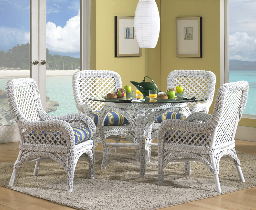 Wicker dining set in white - Muebles de rattan ...