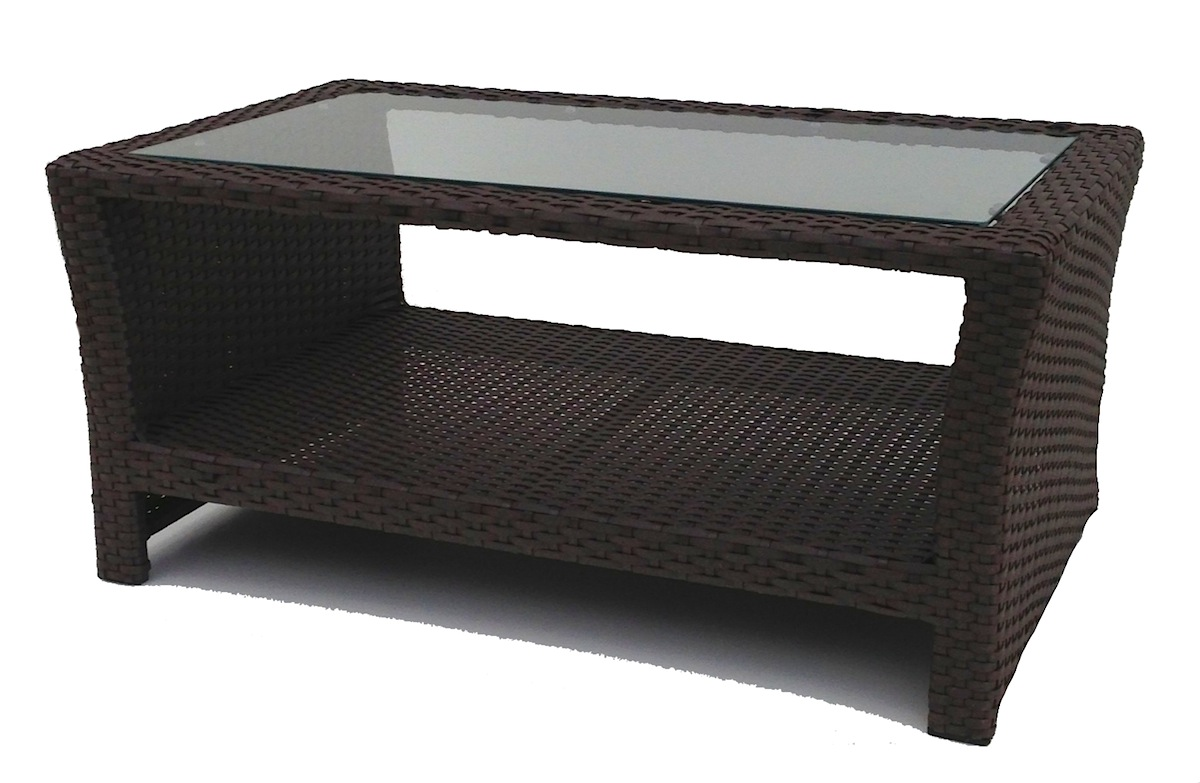 Outdoor wicker inset coffee table for Wicker patio table