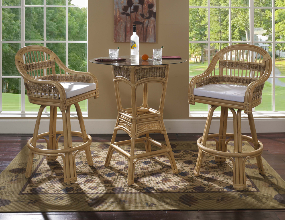 Rattan Bar Stool Set Tropical Breeze