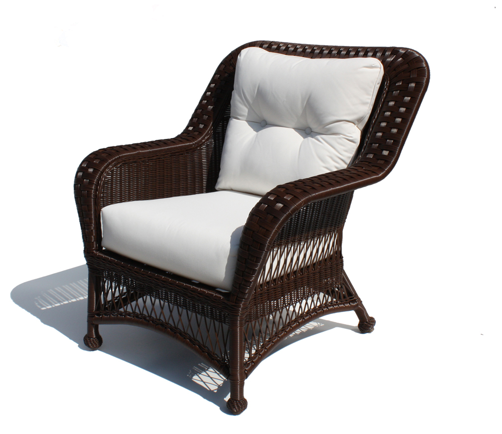 Outdoor wicker chair princeton shown in brown wicker for Outdoor wicker furniture