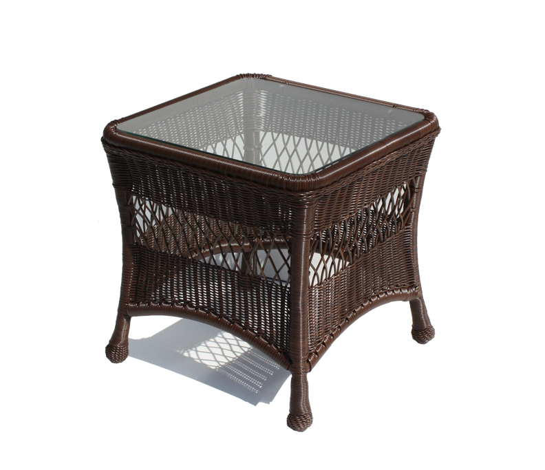 Outdoor Wicker End Table In Brown Wicker Paradise