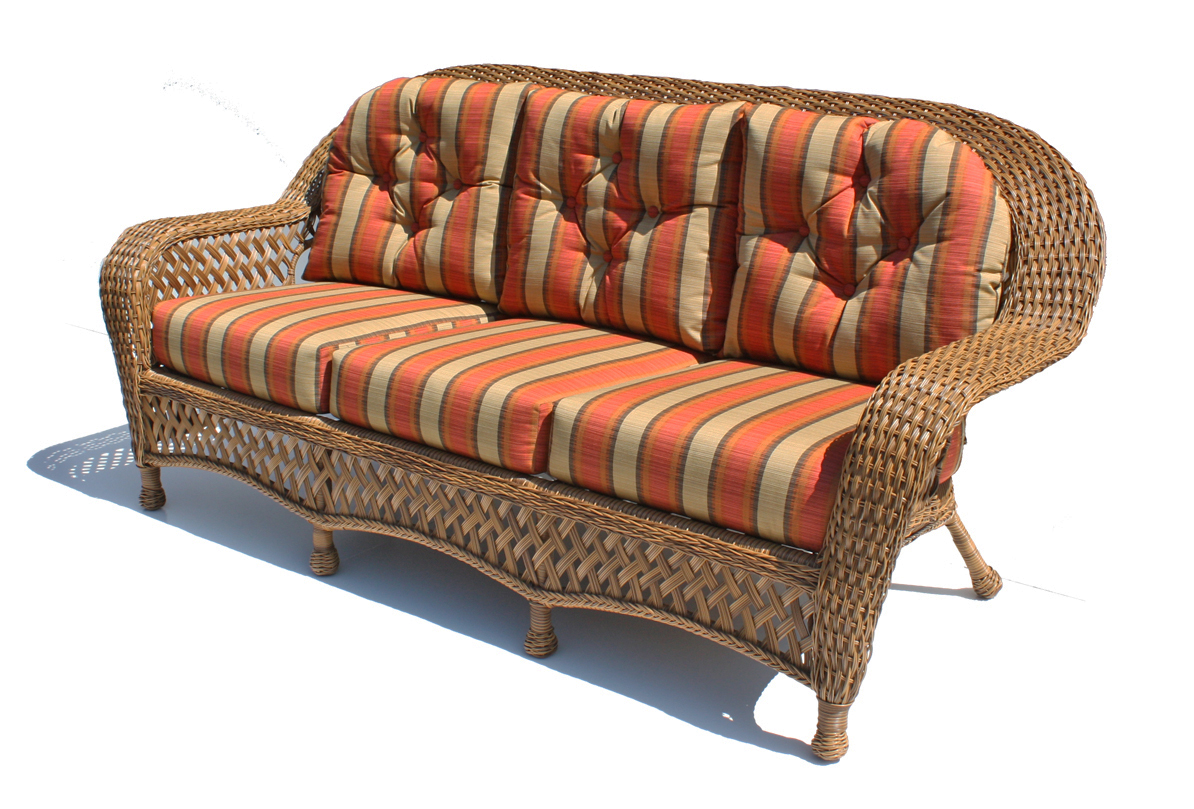 outdoor wicker sofa montauk shown in natural. Black Bedroom Furniture Sets. Home Design Ideas
