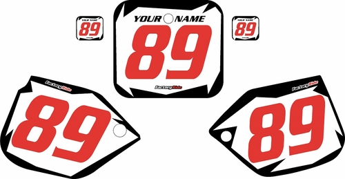 1988-1989 Honda CR250 Pre-Printed Backgrounds White - Black Shock - Red Numbers by FactoryRide