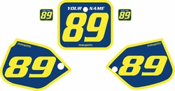 Fits Honda CR250 1988-1989 Pre-Printed Backgrounds Blue - Yellow Bold Pinstripe by FactoryRide