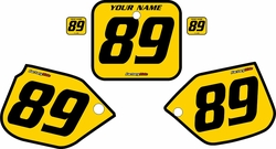 1988-1989 Honda CR250 Pre-Printed Backgrounds Yellow - Black Bold Pinstripe by FactoryRide