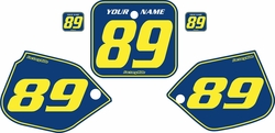 Fits Honda CR250 1988-1989 Pre-Printed Backgrounds Blue - Yellow Pinstripe by FactoryRide