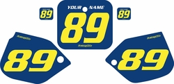 Fits Honda CR250 1988-1989 Pre-Printed Backgrounds Blue - Yellow Numbers by FactoryRide