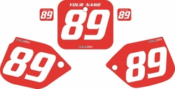 1988-1989 Honda CR250 Pre-Printed Backgrounds Red - White Numbers by FactoryRide