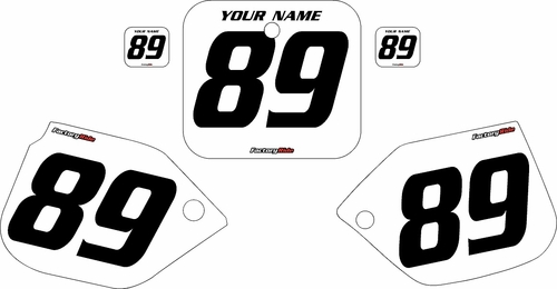 1988-1989 Honda CR250 Custom White Pre-Printed Background - Black Numbers by Factory Ride