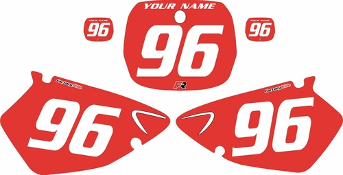 1996-1999 Yamaha YZ125 Custom Pre-Printed Background Red - White Numbers by Factory Ride