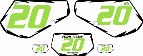 1991-1994 Kawasaki KDX250 Pre-Printed White Background - Black Shock Series - Green Number by Factory Ride
