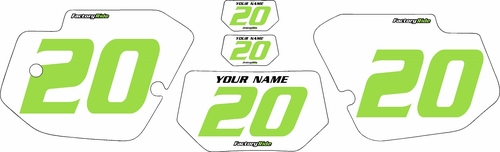 1989-1994 Kawasaki KDX200 Custom Pre-Printed Background White - Green Numbers by Factory Ride