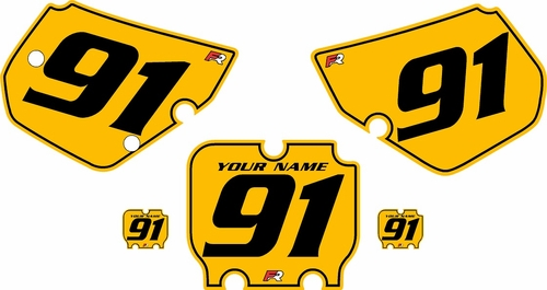 1990-1991 Kawasaki KX250 Custom Pre-Printed Yellow Background - Black Pinstripe by Factory Ride
