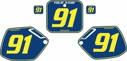 Fits Honda CR250 1990-1991 Blue Pre-Printed Backgrounds - Yellow Pinstripe by FactoryRide