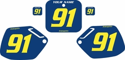 Fits Honda CR250 1990-1991 Blue Pre-Printed Backgrounds - Yellow Numbers by FactoryRide