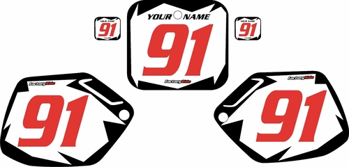 1990-1991 Honda CR250 Pre-Printed Backgrounds White - Black Shock - Red Numbers by FactoryRide