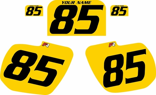 1984 Kawasaki KX125 Custom Pre-Printed Background Yellow - Black Numbers by Factory Ride