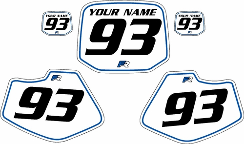 1993-2001 Yamaha YZ80 Pre-Printed Backgrounds White - Blue Pinstripe by FactoryRide