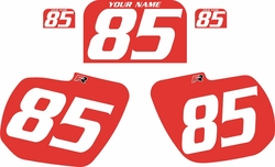 1984 Kawasaki KX125 Custom Pre-Printed Background Red - White Numbers by Factory Ride