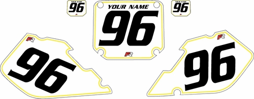 1996-1998 Suzuki RM250 Pre-Printed Backgrounds White - Yellow Pinstripe by FactoryRide