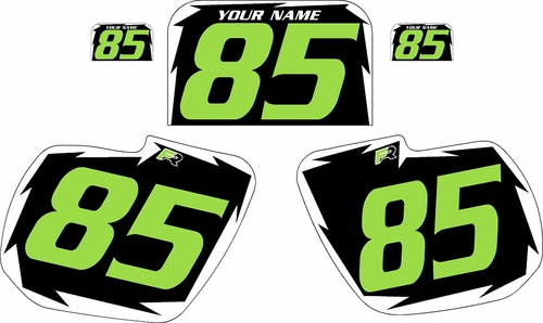 1984 Kawasaki KX125 Pre-Printed Black Background - White Shock Series - Green Number by Factory Ride