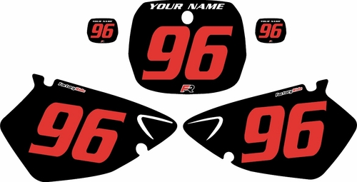 1996-1999 Yamaha YZ125 Custom Pre-Printed Background Black - Red Numbers by Factory Ride
