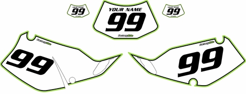 1994-1996 Kawasaki KLX250 White Pre-Printed Backgrounds - Green Pro Pinstripe by FactoryRide