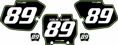 1989-1995 Kawasaki KX500 Pre-Printed Backgrounds Black - Green Pinstripe by FactoryRide