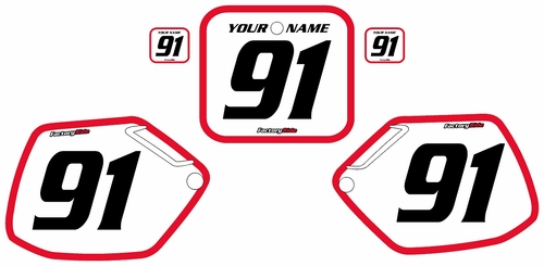 1990-1991 Honda CR250 Pre-Printed Backgrounds White - Red Bold Pinstripe by FactoryRide