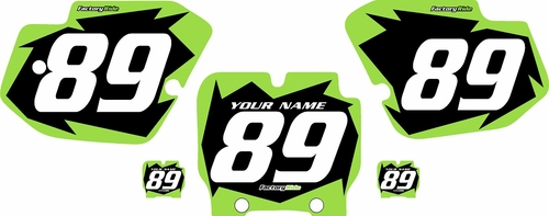 1989-1995 Kawasaki KX500 Pre-Printed Backgrounds Black - Green Shock Series by FactoryRide