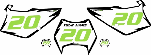 1995-2006 Kawasaki KDX 200 Custom Pre-Printed White Background - Black Shock Series - Green Number by Factory Ride