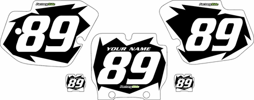 1989-1995 Kawasaki KX500 Black Pre-Printed Background - White Shock Series by FactoryRide