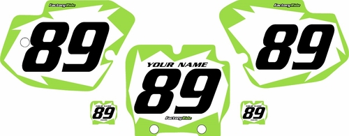 1989-1995 Kawasaki KX500 Pre-Printed Backgrounds White - Green Shock Series by FactoryRide