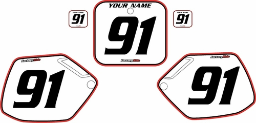 1990-1991 Honda CR250 Pre-Printed Backgrounds White - Red Pro Pinstripe by FactoryRide