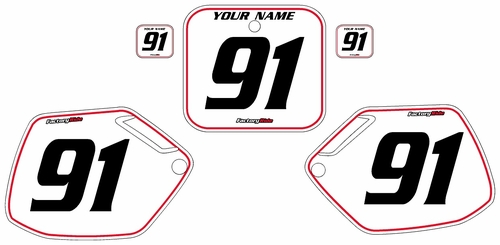 1990-1991 Honda CR250 Pre-Printed Backgrounds White - Red Pinstripe by FactoryRide