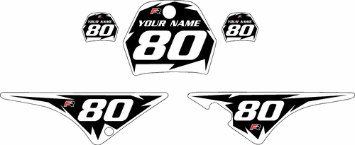 1996-2013 Yamaha PW80 Black Pre-Printed Background - White Shock Series by Factory Ride