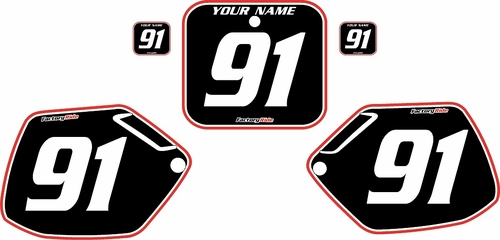 1990-1991 Honda CR250 Pre-Printed Backgrounds Black - Red Pro Pinstripe by FactoryRide