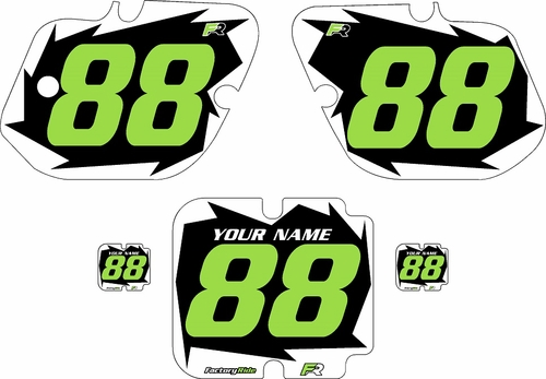 1987 Kawasaki KX250 Pre-Printed Black Background - White Shock Series - Green Number by Factory Ride