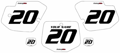 1996-2004 Kawasaki KX500 White Pre-Printed Background - Black Numbers by FactoryRide