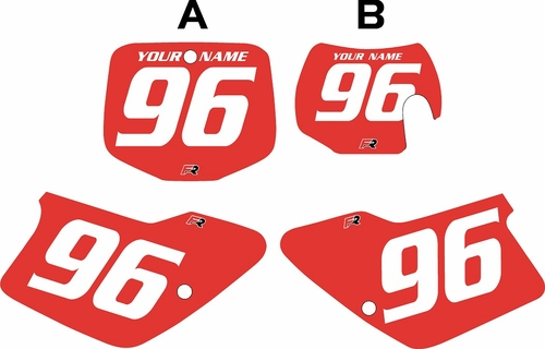 1996-2001 GAS GAS EC125 Custom Pre-Printed Background Red - White Numbers by Factory Ride
