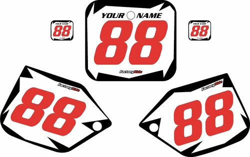 1987-1988 Honda CR500 Pre-Printed Backgrounds White - Black Shock - Red Numbers by FactoryRide