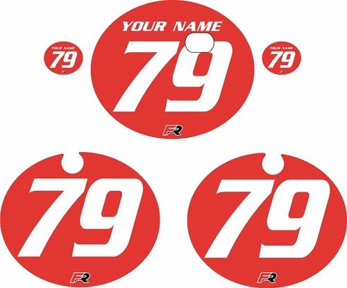 1979 Kawasaki KX250 Red Pre-Printed Backgrounds - White Numbers by FactoryRide